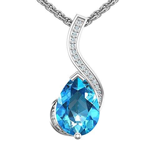 Sterling Silver 7x9mm Sleek Pear Shape 1.1 Carat Swiss Blue Topaz Pendant Necklace For Women, High Polished Fine Jewelry Pendant Necklace