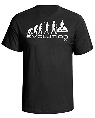 Evolution of a music DJ Herren Mens disc jockey disco funny unique gift present t shirt Black shirt white print