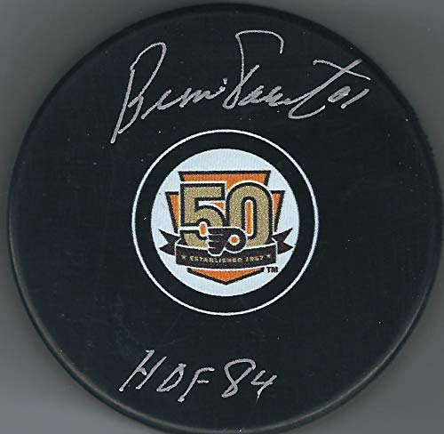 Autographed Bernie Parent Philadelphia Flyers 50th Anniversary Hockey Puck