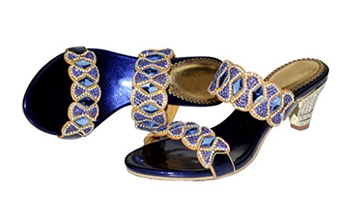 Women's Summer Fashion Open Toe High Heel Slip On Dress Sandals 02#blue pu XQ6MD