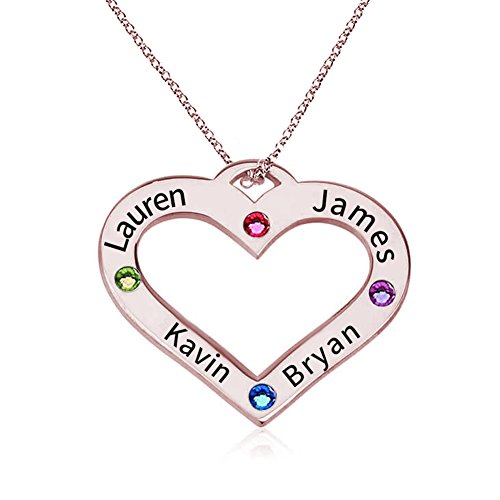 HACOOL 925 Sterling Silver Personalized Family Heart Name Necklace with Birthstone Custom Made with 4 Names (Rose Gold) ()