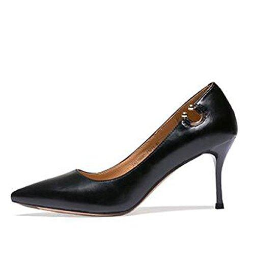 Sexy Mariage EU 5 UK Mode Femme Chaussures Nightclub Cour 5cm Black Chaussures Talons 37 Noir Party 4 Rétro De Femmes Travail Banlieue 7 pUwUFztq