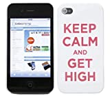 Cerhinu iTALKonline IMPERIAL WHITE CASE with RED Text KEEP CALM AND GET HIGH Pattern Super Slim Hydro Hard Protective...