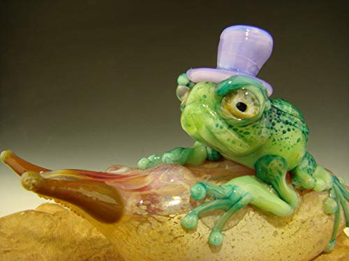 Vortex Glassworks Green Frog with Purple Top Hat Riding on Multi-Colored Beige Snail Paperweight by Eli Mazet Sculpture Figurine Ocean Art (Ready to Ship)