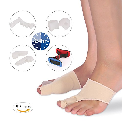 MARNUR Bunion Corrector Pads Kit with Bunion Relief Socks Sleeves and Toe Separators Spacers Straighteners Splint for Bunion Pain, Hallux Valgus and Aid surgery (Toe Aid)