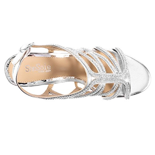 SheSole Womens Ladies Evening Strappy Heel Dress Sandals Prom Wedding Shoes Silver mwyTF