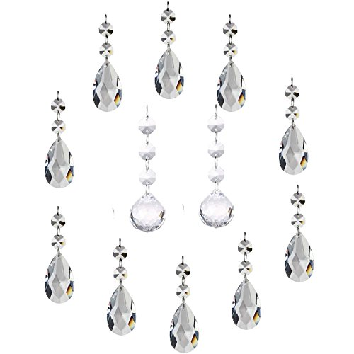 - 10Pcs Clear Crystal Teardrop and 2Pcs Crystal Ball Chandelier Prisms Pendants Suncatcher Hanging Galss Crystal Beads for Wedding Home Office Decoration