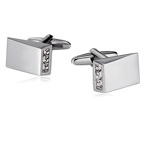 Geometric Sterling Cufflinks Silver (Aokarry 316L Stainless Steel Cufflinks for Men Geometric Cone Engraved Crystal Silver White Men's Cuff Links)