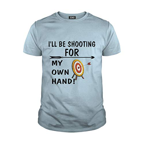 Zoko Apparel Men's I Will Be Shooting for My Own Hand T-Shirt (L, Light Blue) ()