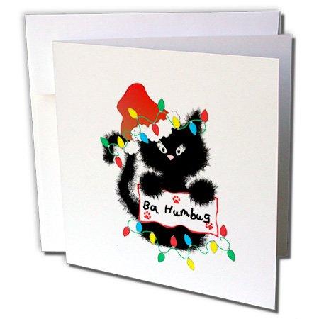 Cute Fuzzy Black Cat Ba Humbug Christmas Santa  - Greeting Cards, 6 x 6 inches, set of 12 (gc_180668_2) (Ba Humbug)