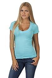Hollywood Star Fashion Women's Deep V-Neck Short-Sleeve Shirt (Small, Navy)