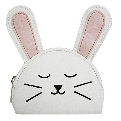 Kukubird Moneda Versátiles Variaciones Lindo Pienso Emoji Bus Tv Cassette Colorido Monedero Embrague Bunny White