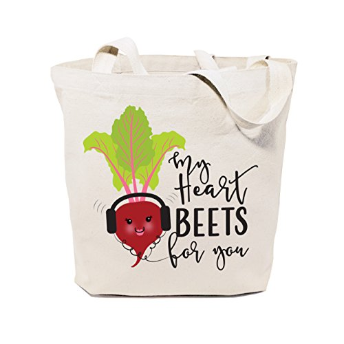 The Cotton & Canvas Co. My Heart Beets for You Reusable Grocery Bag and Farmers Market Tote Bag (Heart Tote Bag)
