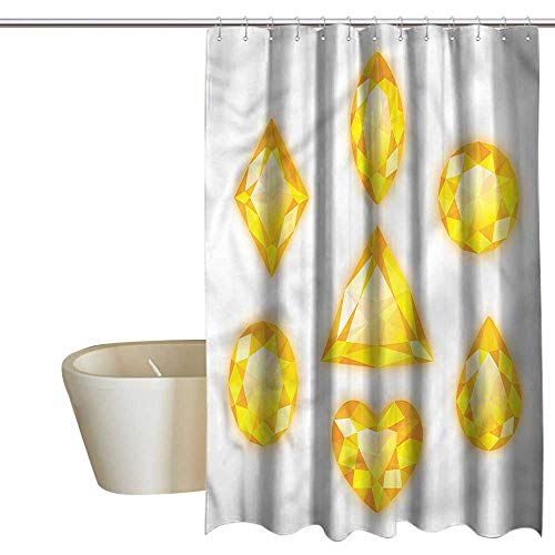Wixuewu Shower Curtains Gold and White Diamonds,Marquise Hearts and Pear,W72 x L96,Shower Curtain for Girls