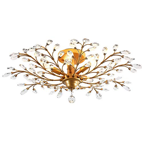 IJ INJUICY K9 Crystal Chandelier Led Ceiling Light Fixtures Living Room Bedroom Restaurant Porch Pendant Lamp (Copper Dia.30.7 Inch)