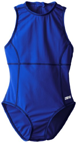 Arena Girl's Waterpolo Youth FL One Piece, Royal/Metallic Silver, Size 24