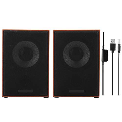 Hopcd USB Stereo Speaker System, Deskstop Wired Wooden Sepaker Amplifier, 5W x 2 Studio Monitor Speaker with 3.5MM Audio…