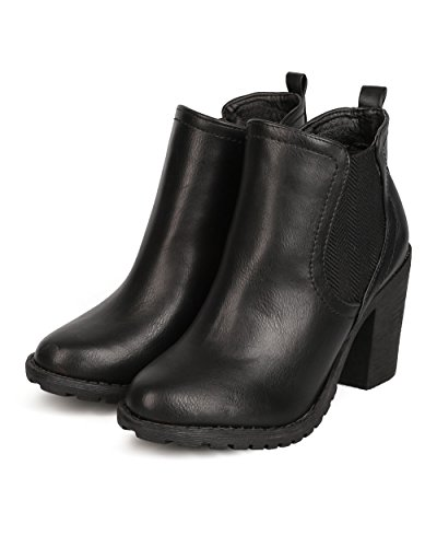Leatherette FF71 Women Nature Boot Chelsea Chunky Heel Black Breeze qtzwx1w7