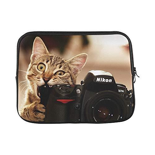 Design Custom Cats Bite Funny Cameras Nikon Kittens Photo Camera Sleeve Soft Laptop Case Bag Pouch Skin for MacBook Air 11
