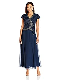 J Kara womens petite Petite Short Flutter Sleeve V-neck Long Beaded Dress