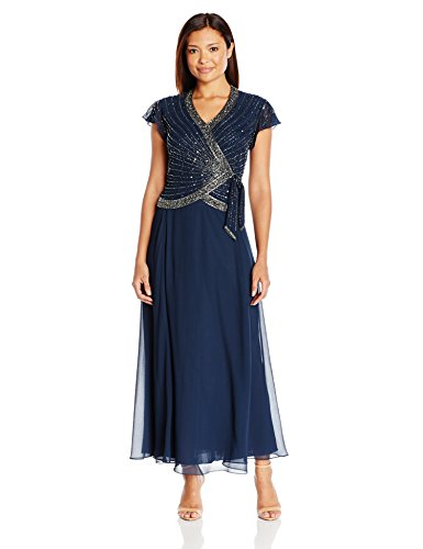 J Kara Women's Petite Short Flutter Sleeve V-Neck Long Beaded Dress