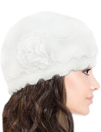 Dahlia Women's Super Soft Solid Color Knit Angora Beanie Hat
