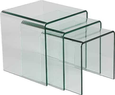 Cristal Curvado Juego de mesas encajables: Amazon.es: Hogar