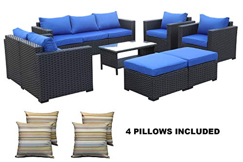 Outdoor PE Wicker Rattan Sofa -7 Pcs Patio Garden Sectional Conversation Cushioned Seat Couch Furniture ()