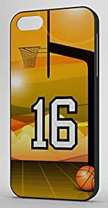 Basketball Sports Fan Player Number 16 Black Rubber Decorative iPhone 6 PLUS Case by runtopwell