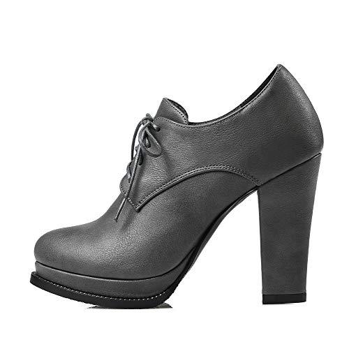 tacco tacco scarpe chiuso Pu Toe con Cords Aalardom grigio alto solido Women Tsmdh002862 ZwCzqFF