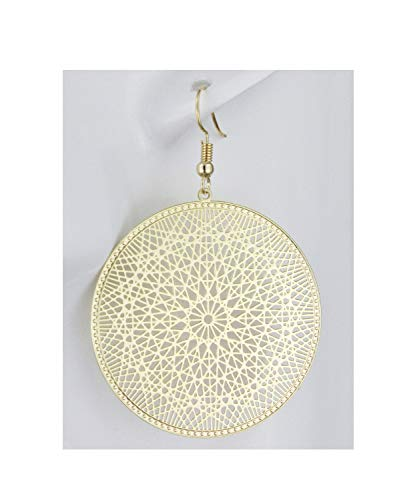 Gold Earrings Round Circle Medallion Coin Dangle Cut Out Filigree 2 3/8