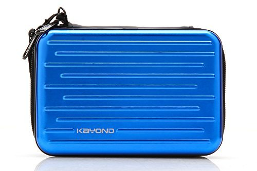 ": KAYOND Anti-shock Silver Aluminium Carry Travel Protective Storage Case Bag for 2.5"" Inch Portable External Hard Drive HDD USB 2.0/3.0 (blue)"