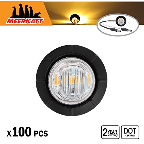 Meerkatt (Pack of 100) 3/4 Inch Round Amber LED Bullet Clear Lens Mini Side Marker Clearance Lamp Sealed Indicator SMD Light Resin w/Plug Trailer Truck Lorry Pickup Universal 12v Waterproof 3LED-DC