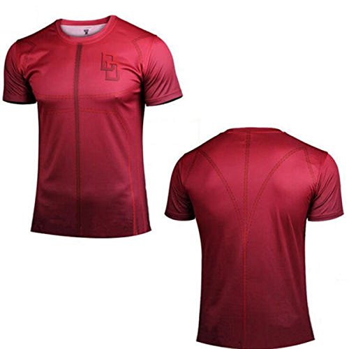 Men Shot Sleeve Super Hero T-Shirt Compression Base Layer Cycling Jersey Top (Dare Devil, 3XL)