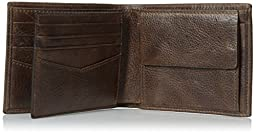 Fossil Men\'s Jack Large Coin Pocket Bifold, Brown, One Size