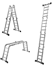 sogesfurniture 15.5ft Folding Ladder Multi-Purpose Aluminium Extension Step Heavy Duty Combination with Safety Locking Hinges Scaffold Ladders,BHCA-KS-JF-404G-1