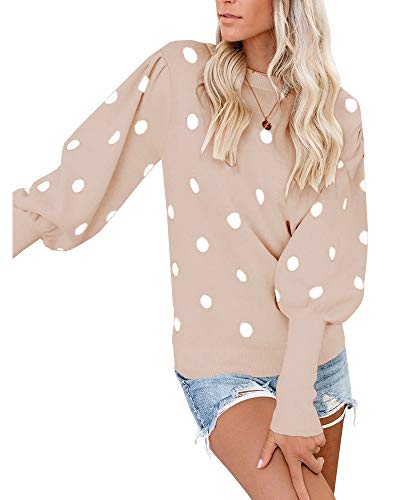 Ybenlow Womens Pullover Sweaters Ploka Dots Lantern Long Sleeve Crewneck Sweater Casual Knit Jumper Tops Khaki