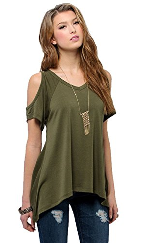 Pxmoda Womens Casual Cold Shoulder T-Shirt Flowy Swing Tops