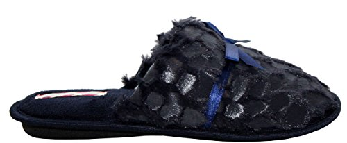 Ladies Womens Lightweight Girls Slip On Fur Lined Cosy Leopard Spots Peep Toe Bow Warm Mules Slippers House Shoes UK sizes 3-10 Navy PWEhXC3Bp