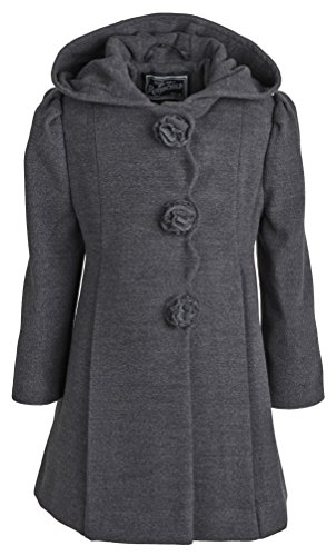 Rothschild Little Girls Faux Wool Scalloped Rosette Winter Dress Coat with Hood - Dark Charcoal (Size 5) -