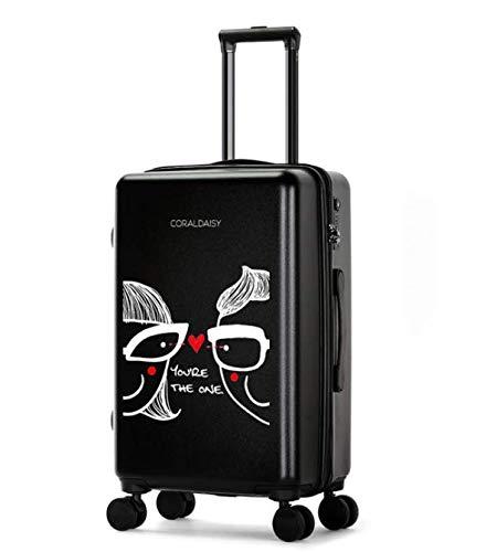 ファッショントロリーケースユニバーサルホイール漫画スーツケースかわいいプリントギフトスーツケース (Color : ブラック, Size : L) B07MQRFGPD