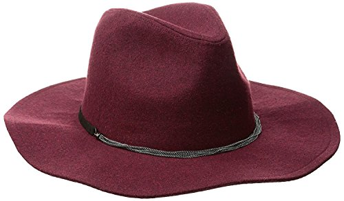 BCBGeneration Women's Delicate Chain Flannel Panama Hat, Wine Red, One Size