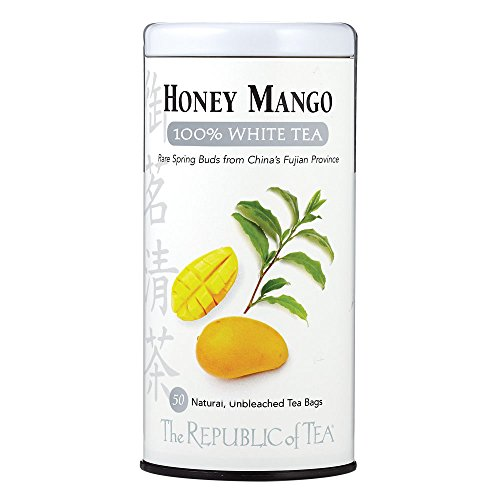 50 Tea Bag Tin - The Republic Of Tea Honey Mango 100% White Tea, 50 Tea Bag Tin