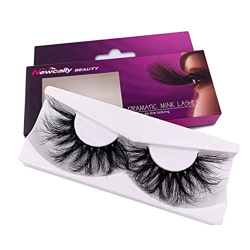 Newcally 25mm Mink Lashes 5D Mink False Eyelashes Dramatic Messy Cross Lashes 1 Pair Pack