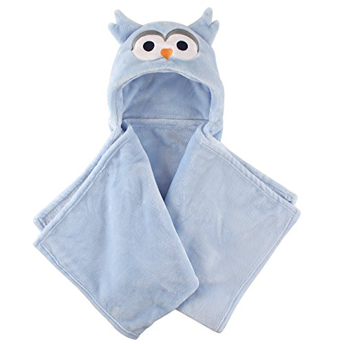 (Hudson Baby Unisex Baby and Toddler Hooded Plush Blanket, Blue Owl, One Size)