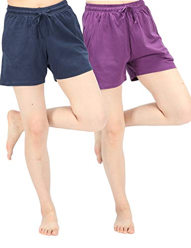 - WEWINK CUKOO Women Pajama Shorts Cotton Sleep Shorts Stretchy Lounge Shorts with Pockets (XXL=US 18-20, Navy+Purple)
