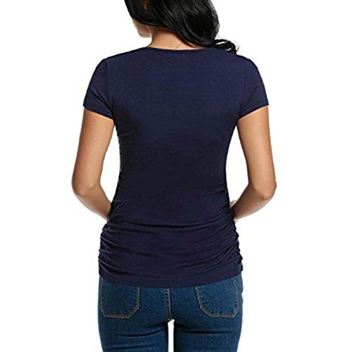 Estate Top M WEIMEITE Shirt T Blu Corte Infermieristica maternità per Abbigliamento Scuro Donna Le Maniche Allattamento Incinte Casual Donne Moda fqwwHXrd