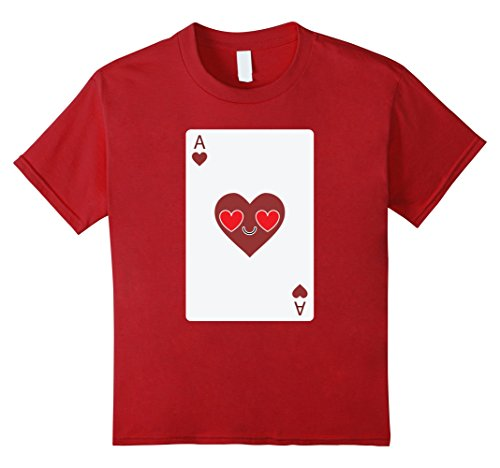 [Kids Poker Card Emoji Heart & Love Eye Shirt T-Shirt Sure Win Tee 8 Cranberry] (Chess Player Costume)