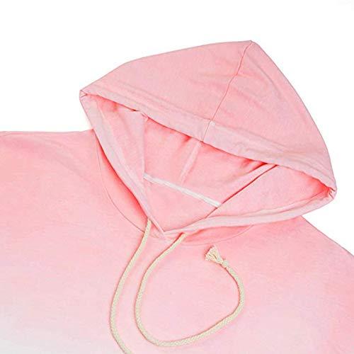 Lunghe Tops Cappuccio Stampa Donna T Patchwork Elegante Vendita Donne Camicie Felpa Stampato Rosa Casual shirt Con Di Liquidazione Camicette Maniche Da In CxnwFqXZnR