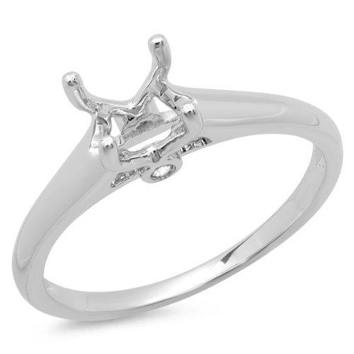 Womens Diamond Semi Mount (0.03 Carat (ctw) 14K White Gold Round White Diamond Ladies Engagement Semi-Mount Ring (No Center Stone) (Size)